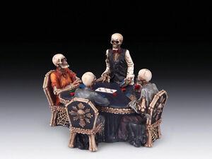 Skeletons at Poker Table Skull Figurine Statue Skeleton Halloween