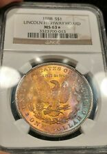 1888 NGC MS63 * STAR Glowing Toned Morgan Lincoln Highway Hoard Textile Color!