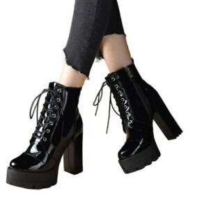 Womens Punk Winter Round Toe High Heel Block Ankle Boots Zipper Platform Shoes