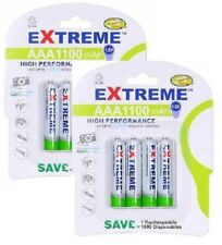 8 x Extreme Ultra High Capacity AAA HR3 UM4 1100 mAh NiMH Rechargeable Batteries