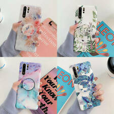 For Samsung Galaxy Note 8 9 S9 S10 Plus Flower Marble Stand Holder Soft TPU Case