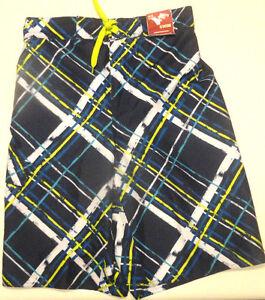 Boys Arizona Bold Navy & White Plaid Swim Trunks Shorts Sizes 5, 14-16