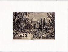 Antique woodcut print : Taj Mahal / Agra India  1875 / matted