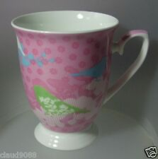 ASHDENE FOOTED FINE BONE CHINA MUG 350ML PATCHWORK GARDEN PINK BIRDS 16167  MINT