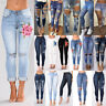 Women Ripped Knee Jeans Pants Denim Stretch Trousers Skinny Elastic Jeggings Lot