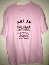 Publish Brand Old Films, Music Etc. Pink Tee T-Shirt Men's Size Large NEW!