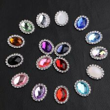 5Pcs Oval Acrylic Rhinestone Buttons Flatback Embellishments Costume Accessories