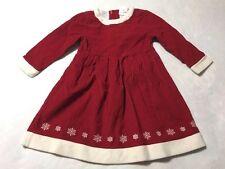 Hanna Andersson 110 4 5 6 Red Corduroy Sherpa Trim Snowflake Dress Winter Xmas
