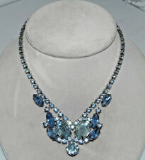 Vintage Silver Tone Light Blue Rhinestone Necklace 16""