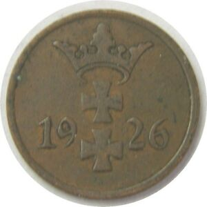 elf Danzig Free City Poland 1 Pfennig 1926