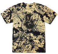 Neff Mens T-Shirt Black Yellow Size 2XL Batik Wash Splatter Peace Tee $34 009