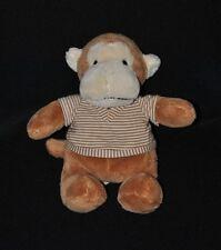 Peluche doudou singe brun beige NICOTOY tee shirt beige rayé 22 cm NEUF