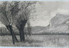 ADOLPHE APPIAN Culvoz Route de Bassy DESSIN ORIGINAL Fusain Ain 1884