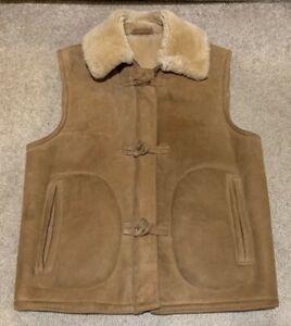 Vintage Sawyer of Napa Genuine Sheepskin Shearling Suede Leather Vest Size Small