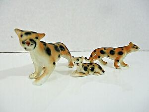Vtg Miniature LEOPARD Big Cat Set of 3 Cheetah Family Porcelain Statues Japan