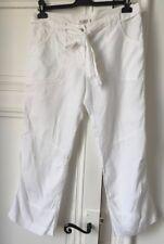 Pantalon, Pantacourt en Lin Blanc Comptoir des Cotonniers, ceinture, Taille 40