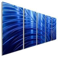 Large Modern Metal Wall Sculpture Blue Abstract Multi Panel Wall Art - Jon Allen