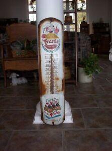 """Vintage Original Metal Advertising Thermometer - Works Frostie Root Beer 36"""""""