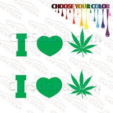 "2 of 8"" I Heart Pot Leaf /A Weed Marijuana car window stickers decals die cut"