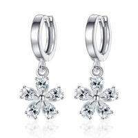 925 Sterling Silver Zirconia Sydney blossom Flower Drop Earrings Women Jewelry