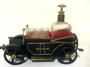 "Liquor Antique Car Vintage Decanter Set Music Box Plays ""How Dry I Am"" mancave"