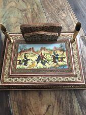 Vintage Kashmir Persian Khatam Inlay Wood Marquetry Desk Pen Letter Holder