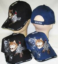 Native American Indian Wolf Feather Shadow BLACK Embroidered Cap Hat 635