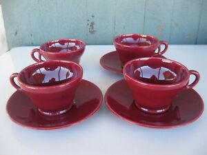 Vintage Franciscan El Patio Maroon (Glossy) Set of 4 Footed Cups & 3 Saucers