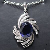"""Blue Oval Sapphire Diamond Gemstone Pendant Necklace 18"""" Chain Gold Plated"""