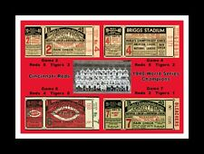 CINCINNATI RED 1940 WORLD SERIES CHAMP MATTED COLLAGE PIC OF WS TICKETS &TEAM #2