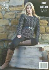 KNITTING PATTERN Ladies Long Sleeve Cable Jumper Aran King Cole 3329