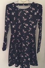 NWT H & M Womens Black Floral Knit Back Cut-Out Long Sleeves Mini Dress Size 4