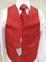 Men's Suit Tuxedo Dress Vest Necktie Bowtie Hanky Set Red Paisley Design