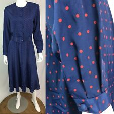 Vintage Hana Sung Women's 8 Blue Red Polka Dot Belted Midi Flare Shirt Dress