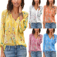 Womens Boho Floral Long Sleeve V Neck Loose T Shirt Summer Blouse Tops Plus Size