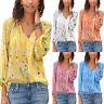 Womens Boho Floral Long Sleeve V Neck Loose T Shirt Summer Blouse Tops Plus Size