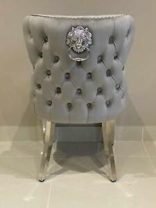 Oxford Grey Velvet French Brushed Chrome Legs Lion Knocker Button Dining Chair