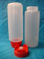 CATER-RAX UPSIDE DOWN SQUEEZE BOTTLES CLEAR 1000ml 2/PACK RED LID BRAND-NEW
