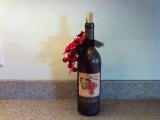 Hand Decorated Black Wine Bottle Light