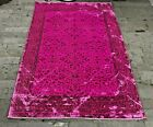 Pink Area Rug, Turkish Handmade Distressed Antique Pink Oushak Carpet, 4.8x7 ft