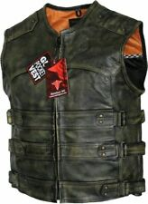 Men's Tactical Style Side Buckle Motorcycle Leather Vest Concealed Carry