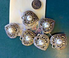 6 Vintage Heart Shaped with Faux Pearls  Button Covers
