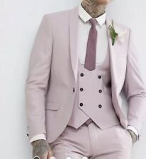 Noose & Monkey Wedding Super Skinny Suit Jacket in Light Pink RRP£125   {N101}