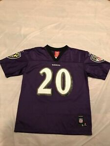 REEBOK NFL BALTIMORE RAVENS #20 ED REED HOME FOOTBALL JERSEY SZ L (14/16) YOUTH