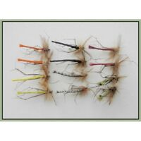Detached Daddy Long Legs Trout Flies, 12 Pack, 6 colours size 10, Fly Fishing