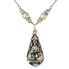 Clear Baroque Filigree Silvertone Pendant Necklace with Crystal from Swarovski