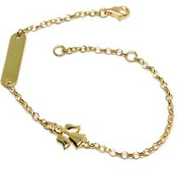 Armband Gelbgold 18K 750, Säugling, Platte, Engel, Länge 16.5 CM