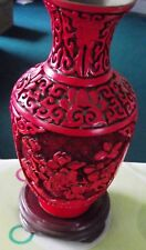 """Antique-Chinois-Rouge Cinabre vase - 6 3/4"""" Tall"""