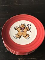 Gingerbread Christmas Swirl Hand Painted Collection Salad Plates Lot Of 5