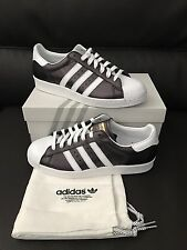 New Adidas Superstar Trefoil Mi Metallic Black White RARE ALL Leather Shell Toe